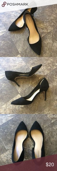 "Express D'orsey pumps EUC Express D'orsey pumps. Size 7, 3"" heel, pointed toe, faux suede. Worn twice with brand new heel tips. So classic, they match with everything but they are just a tad snug on me. Express Shoes Heels"