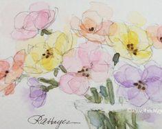 Watercolor Painting of Flowers in Teacups Print by RoseAnnHayes
