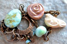 Robins Egg Ceramic Wire Wrapped Bracelet by TheJunquerie on Etsy, $36.00