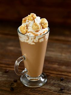 Salted Caramel Cafe - Tia Maria, Bailey's Irish Cream, Monin Salted Caramel syrup, half and half, topped with whipped cream, carmel corn and caramel sauce.