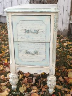 Antique nightstand recreated in AS Old White and Provence chalk paint.  Body was painted in Old White.  A mix of 50/50 Old white and Provence was used as the accent colour.  French script added for a soft feminine feel.  Clear waxed and dark wax highlighted.