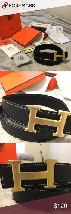 Brand New Reversible Hermes Belt Brand new Hermes 1:1 Replica Belt for sale!!! Beautiful, high quality material that's a 1:1 replica created to look and feel the part of the original counter part. When you wear this belt, it would be hard to tell from an untrained eye if it's a original or not. Comes with everything you see in the pictures above!  The size of the belt is 90 CM which should fit up to 32 waist. If need be, you can always get more holes added, which is what I did with my belt…