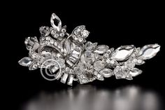 Vintage Bridal Hair Clip of Crystal BEads and Baguette Rhinestones