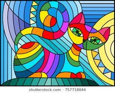 Find Illustration in stained glass style with abstract geometric cat stock vectors and royalty free photos in HD. Explore millions of stock photos, images, illustrations, and vectors in the Shutterstock creative collection. Stained Glass Quilt, Stained Glass Patterns, Arte Pop, Geometric Cat, Geometric Quilt, Cat Quilt, Fabric Painting, Cat Art, Abstract Art