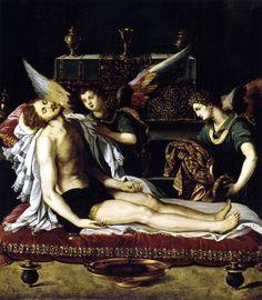 ALESSANDRO ALLORI CRISTO MUERTO CON DOS ANGELES 1600