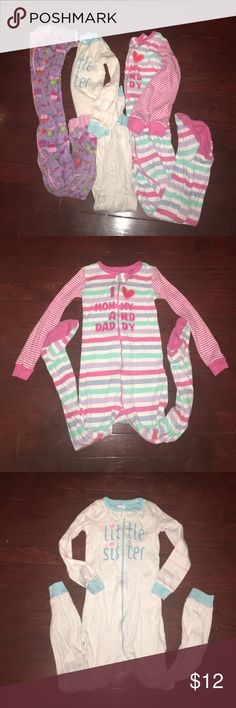 3 One Piece pijamas from children palce 2 long sleeve and 1 short sleeve Children's Place Pajamas