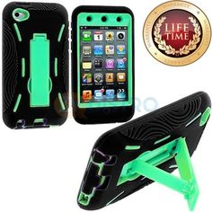 Amazon.com: myLife (TM) Black + Light Mint Green Tough Series (Body Armor Defender Glove) Case for iPod 4/4S (4G) 4th Generation iTouch (Bui...