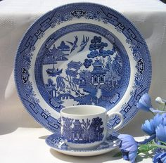 My Vintage Blue Willow by Churchill England place settings.