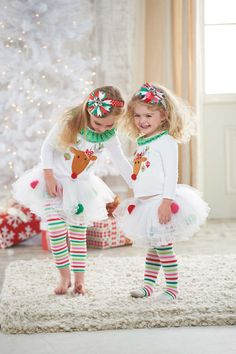Mud Pie Girl's Christmas Outfit: Infant or Toddler White Reindeer Tutu Set