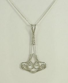 Handmade Sterling Silver Wire Wrapped Thor's Hammer Pendant