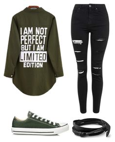 """Army green"" by timetells on Polyvore featuring Topshop, Converse, women's clothing, women, female, woman, misses and juniors"
