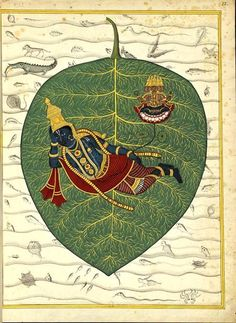 Bhagavat (Lord Vishnu), plunged in meditation, rests on the ocean of eternity. Brahma is born from the navel Tamil Nadu India ca.1780-85.