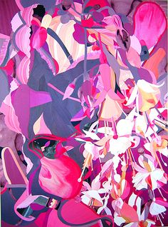 Instance of Eruption -2007, acrylic and paper collage on panel. 44in x 32in
