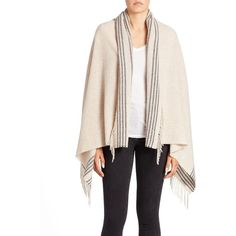 Eileen Fisher Fringe-Trim Wool-Blend Wrap ($148) ❤ liked on Polyvore featuring accessories, scarves, beige, fringe scarves, fringe shawl, eileen fisher scarves, eileen fisher and wrap shawl