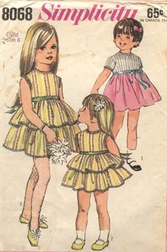 Vintage 60s Simplicity Sewing Pattern 8068 Girls Size 6 Dress. $5.00, via Etsy.