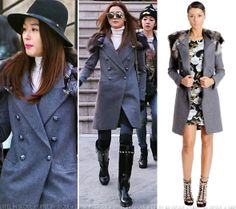 Gianna Jeon Ji Hyun (전지현)  Philipp Plein 'Inspector' coat with a white turtle-neck blouse and Sandro denim jeans. Her look was accessorized with Philipp Plein boots, Rag & Bone fedora, Tod's bag and Gentle Monster sunglasses.