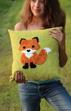 """The Innocent Red Fox pillow pattern - PDF instant download for a 16"""" pillow using plush Cuddle fabrics from Shannon Fabrics"""