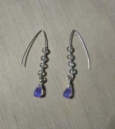 Boucles d'oreilles zen, wire en argent 925 et Pierres  http://www.aufildellor.com/