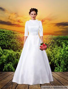 Modest wedding gown, modest wedding dress, tznuis gown