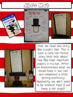 Abe Lincoln's Hat - I love the kiddos photo underneath their hat/writing piece.