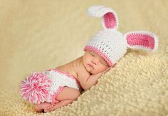 $11.07 Newborn-6Month Baby Crochet Knit Beanie Rabbit Photography Prop Hat Set White
