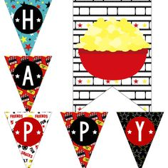 Movie Theater Birthday Party Decorations Pack Package Digital Download DIY Printable