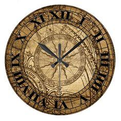 Shop Vintage Compass Art Clock created by opheliasart. Decoupage Vintage, Vintage Maps, Compass Art, Compass Rose, Vintage Clock Tattoos, Clock Tattoo Design, Vintage Compass, Farmhouse Wall Clocks, Geniale Tattoos