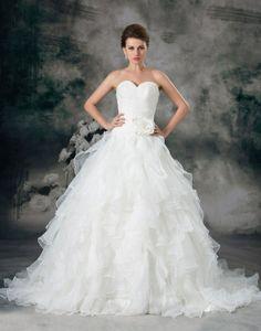Bride Casamento Vestido De Noiva 2014 Flower Ruffle Sweetheart Strapless Floor Length Court Train Luxury Crystal Wedding Dress