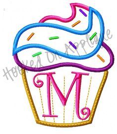 Cupcake Alpha & Numbers Applique Design -BUY 3 GET 1 FREE-. $8.00, via Etsy.