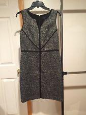 Ann Taylor Black Tweed V-Neck Sheath Dress Size 8 Great Condition