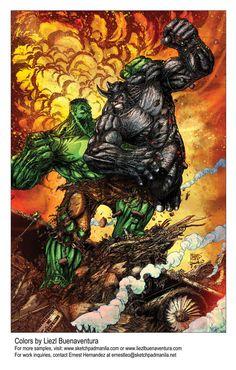 Hulk Vs Rhino Colors by ~sketchpadstudios on deviantART Comic Book Characters, Marvel Characters, Comic Character, Comic Books Art, Comic Art, Hulk Marvel, Marvel Heroes, Avengers, Spiderman