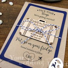 Suitcase Save the Date, Custom Engraved Save the Date, Wood Save The Date Magnet, Destination Wedding Wedding Invitation, Boarding Pass by YourWeddingProject on Etsy https://www.etsy.com/sg-en/listing/493683034/suitcase-save-the-date-custom-engraved