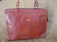 Genuine vintage OROTON tan leather tote bag with logo and tag