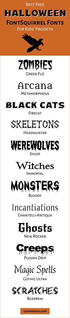 Free commercial use Halloween fonts from fontsquirrel Spooky Font, Kid Fonts, Halloween Fonts, Magic Spells, Projects For Kids, Commercial, Free, Magick Spells, Kids Service Projects