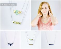Curious and Catcat: Alphabet necklaces Alphabet Necklace, Alphabet Beads, Diy Jewelry, Jewelry Accessories, Jewelry Necklaces, Diy Necklace, Arrow Necklace, Beaded Necklace Patterns, Handmade Necklaces