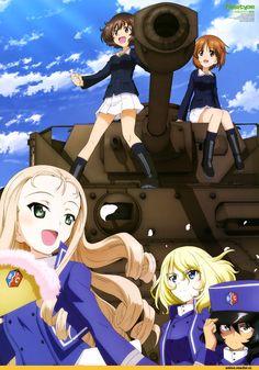 Anime,Аниме,Girls und Panzer,Miho Nishizumi,akiyama yukari,andou (girls und panzer),marie (girls und panzer),osuda (girls und panzer)