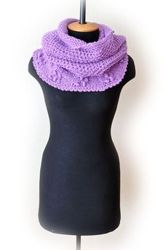 Lilac Knit Cowl-Violet Chunky Infinity by DinaStyleKnits on Etsy