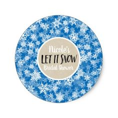 Let it Snow Blue Snowflakes Winter Holiday Favor Classic Round Sticker - christmas craft supplies cyo merry xmas santa claus family holidays