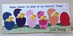 cute handmade Easter card ... long and lean ... die cut eggs with die cut chicks peeping out ...