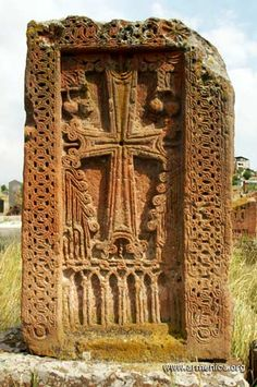 Khachkar (Armenian stone cross), at Arinj, a village just north of Yerevan, Armenia.