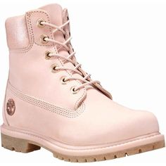 Timberland Women's 6-Inch Premium Pink Nubuck Boots ($170) ❤ liked on Polyvore featuring shoes, boots, pink, pink boots, lug-sole boots, pink shoes, lightweight waterproof shoes and timberland shoes