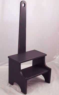 Black step stool - 33H Handle, 12 High, 14.75w 7.5 deep