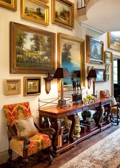 .THE EVERYDAY HOME: .English manor entryway with an inspiring gallery wall....beautiful!