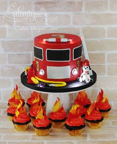Firetruck Cake use starbursts for flames Firefighter Birthday Cakes, Truck Birthday Cakes, Fireman Birthday, Firefighter Cupcakes, Fireman Party, 4th Birthday, Birthday Ideas, Fireman Cupcakes, Fireman Sam Cake
