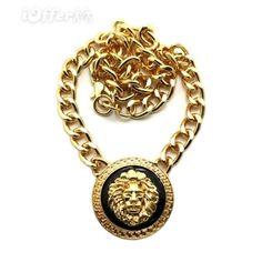 gold-lion-head-necklace-chain-rihanna-nicki-minaj-q160g-3c2b.jpg... ❤ liked on Polyvore