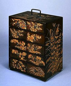 Maki'e Lacquered Kasho Chest with Design of Autumn Plants,  Momoyama Period (16th Century)  Kodai-ji Temple, Kyoto  Important Cultural Property  Kyoto National Museum , This chest is one of the most excellent extant Kodai-ji Maki'e lacquerworks. he Kasho chest is a container for the books and scrolls on the basic education for aristocrats.