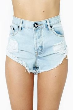 One Teaspoon Bandit Cutoff Shorts in Faded Blue