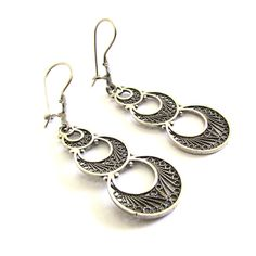 Artisan Design Sterling Silver Filigree Crescent Moons Earrings for Woman
