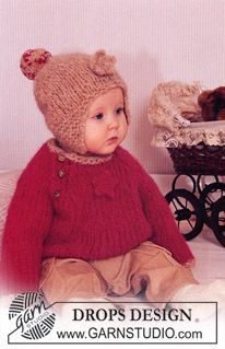 """Thick jumper and hat in """"Eskimo"""" with crochet flower. Socks in """"Baby Merino"""". ~ DROPS Design"""