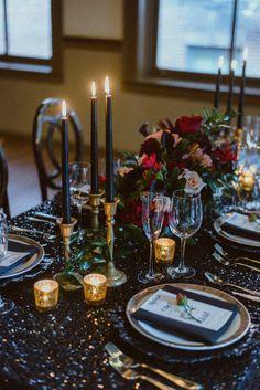 Art Deco Wedding, Gothic Wedding, Wedding Blog, Wedding Ideas, Dream Wedding, New Years Wedding, New Years Eve Weddings, Gold Candles, Black Candles